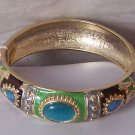 Blue Brown Green Gold Plated Bangle Bracelet
