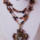 Chunky Brown Religious Western Angel Wing Wings Heart Cross Tigers Eye Necklace Set