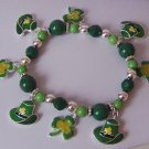 St Saint Patricks Day Four Leaf Clover Irish Shamrock Bracelet