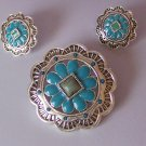 Blue Green Southwestern South Western Cowgirl Rodeo Concho Brooch Necklace Pendant Earring Set