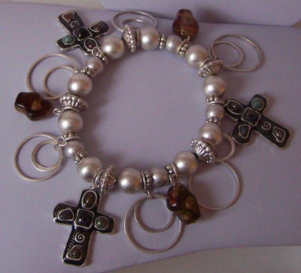 Religious Christian Black & Brown Cross Charm Bracelet