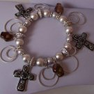 Religious Christian Black & Brown Cross Charm Bracelet