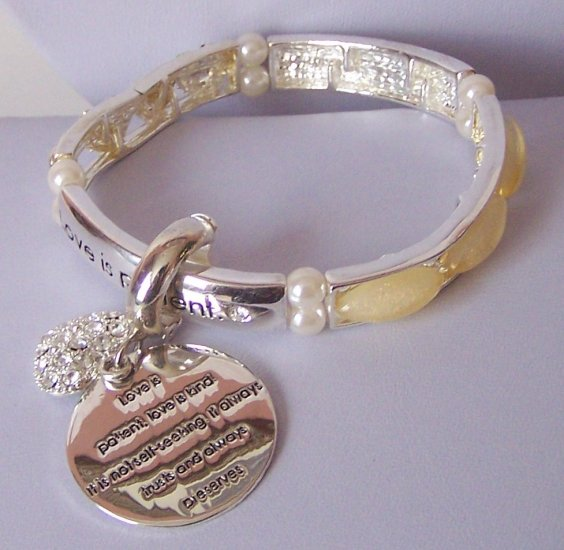 Religious Christian Love Is Patient Kind Not Self Seeking Crystal Heart Love Bracelet