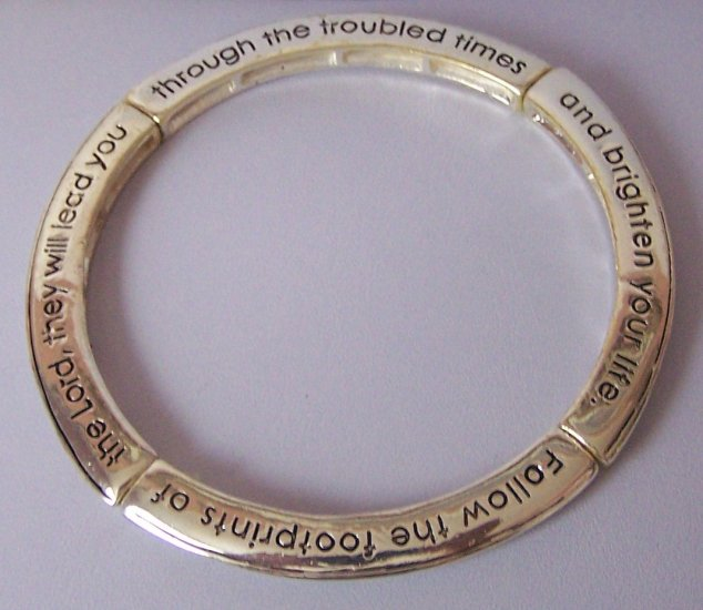 Religious Christian Follow the FootPrints fo the Lord Bangle Bracelet