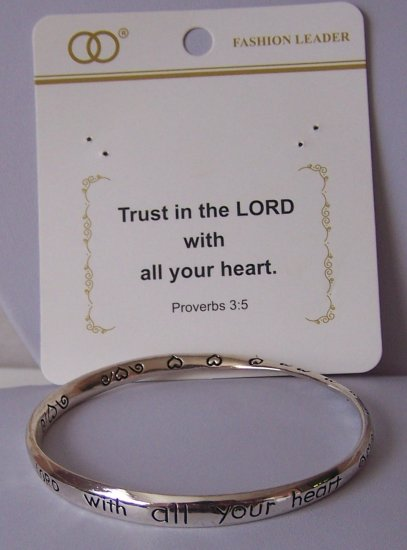 Religious Christian Trust in the Lord Heart Proverbs 3:5 Twisted Bracelet