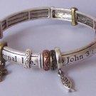 Religious Christian Antique Style John 3:16 Bangle Charm Jesus Bracelet