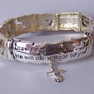 Religious Christian James 4:8 Draw Near to God Cross Bangle Bracelet