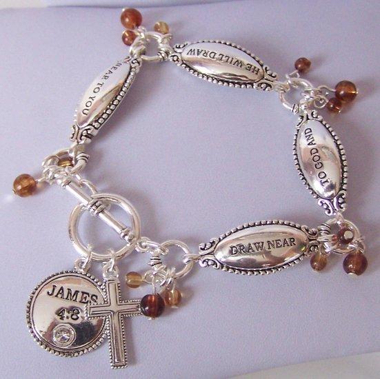 Religious Christian Brown James 4:8 Draw Near to God Cross Bangle Bracelet