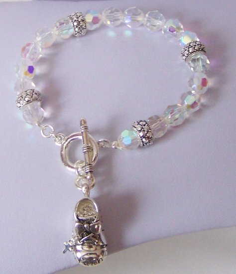 Religious Christian Baby Shoe Hope Faith Gods Grace Cross Aurora Borealis Bracelet