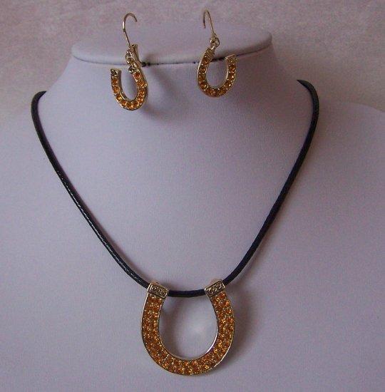 Citrine Western Cowgirl Crystal Rodeo Horseshoe Horse Shoe Necklace Pendant