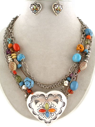 Western Cowgirl Heart Love Valentines Day Multicolor Necklace Set
