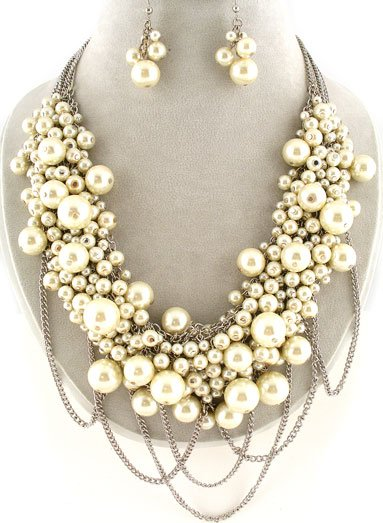 Ivory Off White Pearl Silver Tone Necklace Set