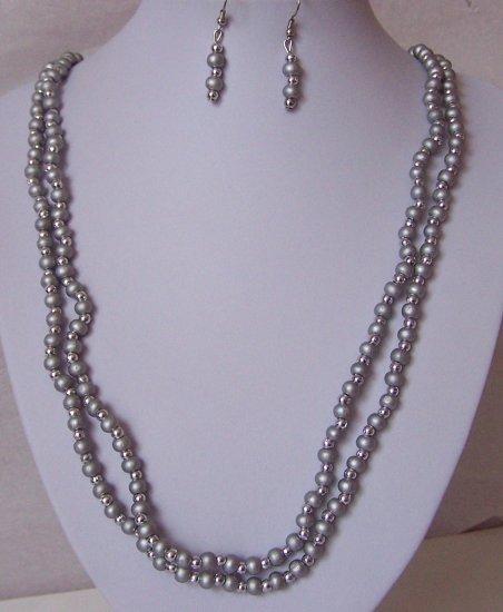 Silver Metallic Wood Bead Long Necklace Set