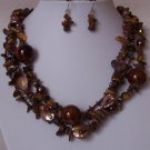 Brown Multistrand Tigers Eye Natural Turquoise Mix Bead Shell Necklace Set