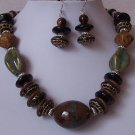 Brown Black Blue Mixed Bead Necklace Set