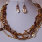 Brown White Beige Natural Shel Wood Mixed Seed Bead Necklace Set