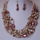 Brown Off White Natural Shell Glass Seed Bead Multistrand Necklace Set