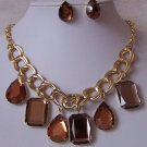 Brown Double Link Cabochon Necklace Set
