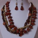 Brown Green White Natural Turquoise Stone Mix Bead Necklace Set