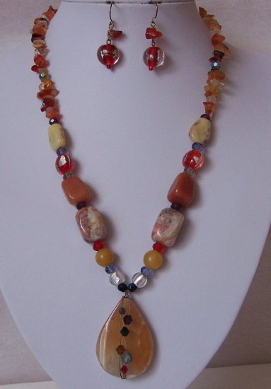 Tan Brown Black Blue White Red Natural Stone Semi Precious Semiprecious Necklace Set