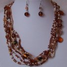 Brown White Black Multistrand Glass Mix Bead Necklace Set