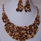 BROWN TOPAZ BIB STATEMENT CRYSTAL BRIDE BRIDAL NECKLACE SET