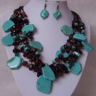 Western Blue Natural Turquoise Black Brown Glass Bead Necklace Set