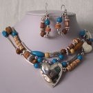Western Blue Brown Heart Love Valentines Day Layered Necklace Set