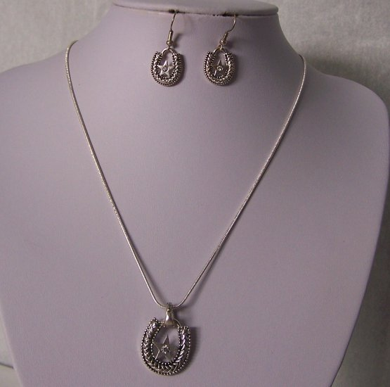 Western Texas Crystal Lonestar Star Rodeo Horseshoe Horse Shoe Necklace Set