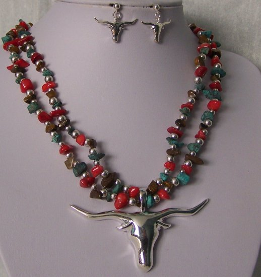 Brown Red Blue Longhorn Bull Steer Western Turquoise Stone Semiprecious Semi Precious Necklace Set