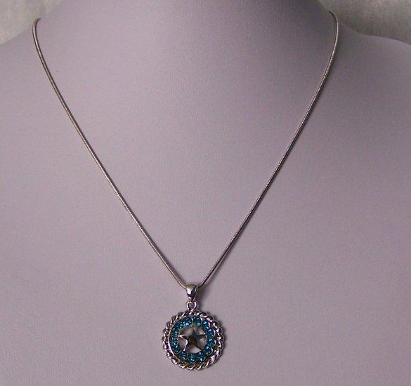 Blue Zircon Crystal Texas Lonestar Star Horse Shoe Horseshoe Western Necklace