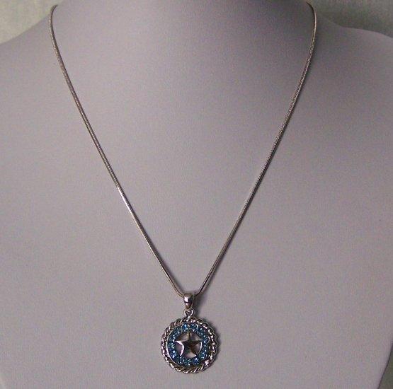 Blue Baby Light Blue Crystal Texas Lonestar Star Horse Shoe Horseshoe Western Necklace