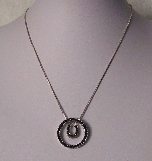 Black Circle Crystal Horse Shoe Horseshoe Western Necklace