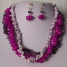 Purple Lavender Triple Strand Turquoise Semiprecious Semi Precious Western Necklace Set