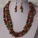 Red Green Brown Multicolor Triple Strand Turquoise Semiprecious Semi Precious Western Necklace Set