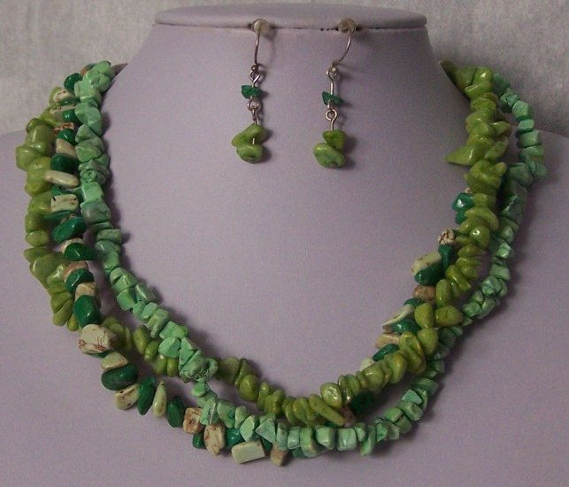 Mix Green Triple Strand Turquoise Semiprecious Semi Precious Western Necklace Set