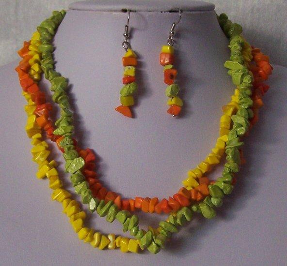 Green Orange Yellow Triple Strand Turquoise Semiprecious Semi Precious Western Necklace Set