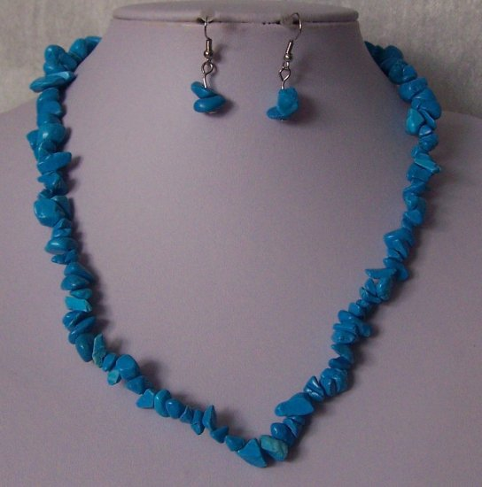 Blue Single Strand Turquoise Semiprecious Semi Precious Western Necklace Set