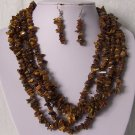 Brown Tigers Eye Five Strand Turquoise Semiprecious Semi Precious Western Necklace Set