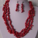 Red Triple Strand Turquoise Semiprecious Semi Precious Western Necklace Set