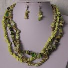 Mixed Green Triple Strand Turquoise Semiprecious Semi Precious Western Necklace Set