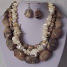 Brown Beige Tan Off White Triple Strand Turquoise Semiprecious Semi Precious Western Necklace Set