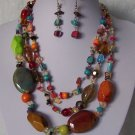 Red Green Blue Orange Multi Triple Strand Turquoise Semiprecious Semi Precious Western Necklace Set