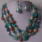 Blue Brown White Pearl Turquoise Semiprecious Semi Precious Western Necklace Set