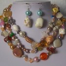 Blue Green Brown Orange Mix White Pearl Turquoise Semiprecious Semi Precious Western Necklace Set