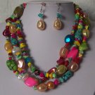 Blue Green Peach Pink Mix White Pearl Turquoise Semiprecious Semi Precious Western Necklace Set