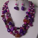 Purple Hot Pink Mix White Pearl Turquoise Semiprecious Semi Precious Western Necklace Set