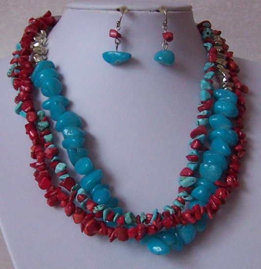Red Blue Aqua Teal Mix Turquoise Semiprecious Semi ...