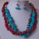 Red Blue Aqua Teal Mix Turquoise Semiprecious Semi Precious Western Necklace Set
