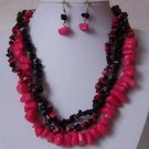 Red Black Mix Turquoise Semiprecious Semi Precious Western Necklace Set